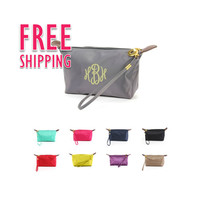 Monogrammed Bridesmaids Solid Color Cosmetic Bag Bundles Sold In Sets of 7, 8, or 9 Discounted 12%, Free Monogramming, and Shipping