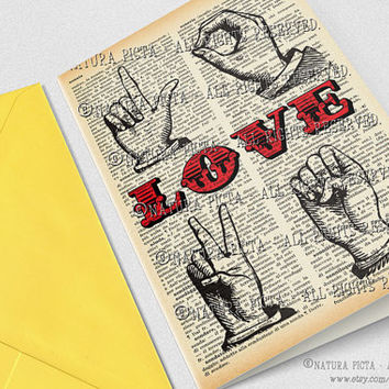 Love hand sign language Greeting Card-4x6 card-Love card-Valentine card-Invitation-Anniversary card-Wedding card-design NATURA PICTA NPGC079