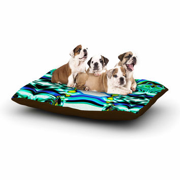 "Dawid Roc ""Inspired By Psychedelic Art 5"" Blue Abstract Dog Bed"