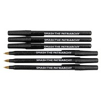 Smash the Patriarchy Black Sparkle Pen Pack - 6 Pens