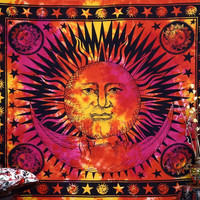 Flaming Red Orange Sun Celestial Psychedelic Wall Bed Table Queen Tapestry