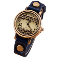 Womens Vintage Style Casual Sports Watches Girls Unique Rivet Genuine Leather Strap Wrist Watch Best Christmas Gift