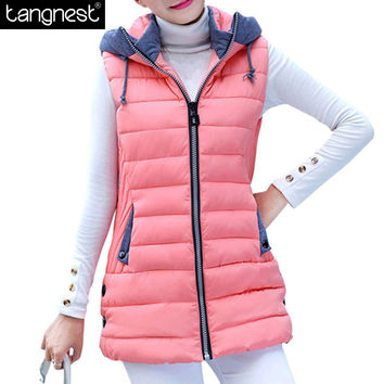 TANGNEST Warm Vest Women 2016 Autumn Winter Long Hooded Waistcoat Pockets Patchwork Slim Coats Chalecos Mujer Vests  WWV230