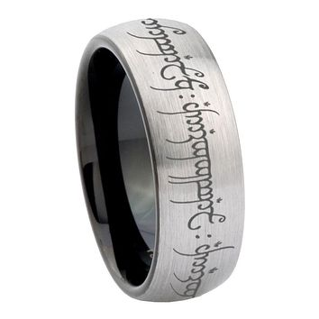 10mm Lord of The Ring Dome Tungsten Carbide Silver Black Engagment Ring