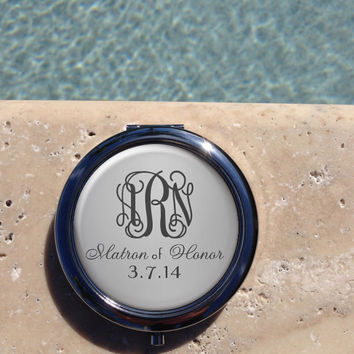 Silver Monogram compact mirror,Personalized Compact Mirror, Custom,Compact,Mirror,Matron of Honor Gift,Wedding party gift,Gifts for her