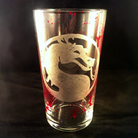 Mortal Kombat Inspired Hand Engraved Pint Glass