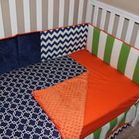 Navy Blue, Orange & Lime Green 5 Piece Crib Bedding set