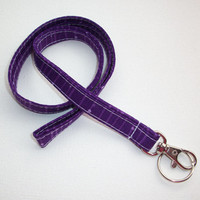 Lanyard  ID Badge Holder - NEW THINNER design - dazzle purple lines stripes dots - Lobster clasp and key ring
