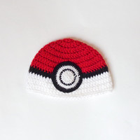 Pokeball Hat, Poke Ball Beanie Newborn Child Teen  Adult - Halloween / Cosplay / Baby Shower Gift