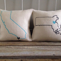 Burlap Pillow -Custom City, State design - Choose Your Own Colors - Father's Day Gift, Graduation Gift