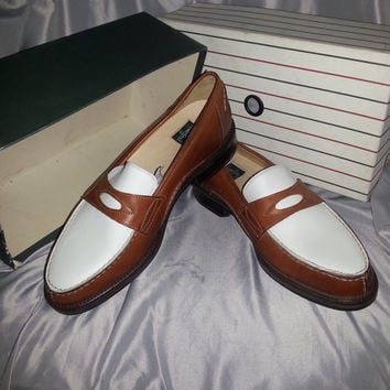 Stunning 80s New Old Stock Italian Leather Two Tone Penny Loafers by Cable and Co. - Size 10 1/2 D -