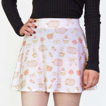 Pusheen print ladies junior skater skirt