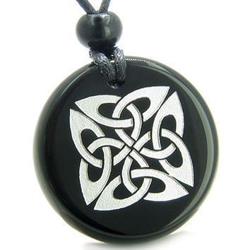 Amulet Life Protection Celtic Shield Knot Ancient Powers Black Agate Pendant Necklace
