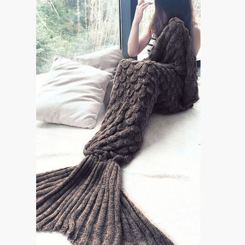 Dark Brown Knit Mermaid Party to Be Adored Blanket for Sofa Bed Home Gift