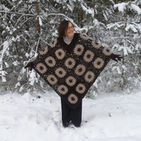 Crochet Poncho, Winter Accessory Dark Brown and Beige