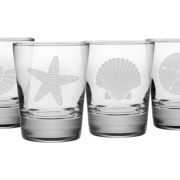 Seashore Tumbler Mix, Set of 4, Acrylic / Lucite, DOF