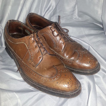 Vintage 50s Brown Leather Florsheim Imperial Wingtip Brogue Shoes - 9 1/2 B