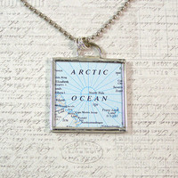North and South Poles Double Sided Pendant Necklace