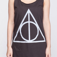 Deathly Hallows Shirt Harry Potter Movie Symbol Shirts Women Tank Top Black Shirt Tunic Top Vest Sleeveless Women T-Shirt Size S M