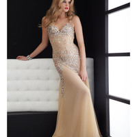 Jasz Couture 2013 Prom - Nude Sexy Rhinestoned Gown - Unique Vintage - Cocktail, Pinup, Holiday & Prom Dresses.