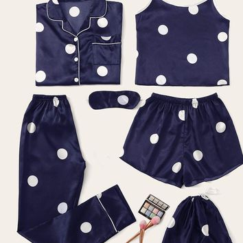 7pcs Polka Dot Satin Pajama Set