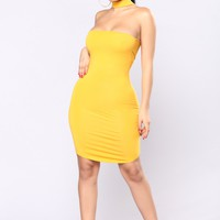 Do It On The Daily Choker Dress - Mustard