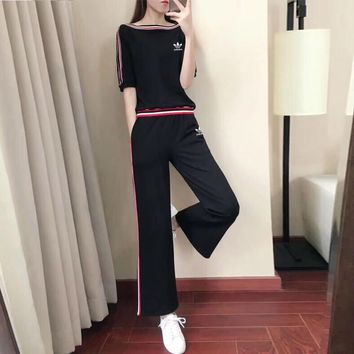 """Adidas"" Women Casual Fashion Multicolor Stripe Short Sleeve Wide Leg Pants Trousers Set Two-Piece Sportswear"