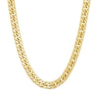 Men's 14k Gold Over Silver Curb Chain Necklace (Yellow)