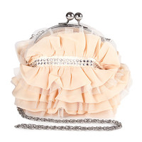 Champagne Ruffle Clutch with Crystals