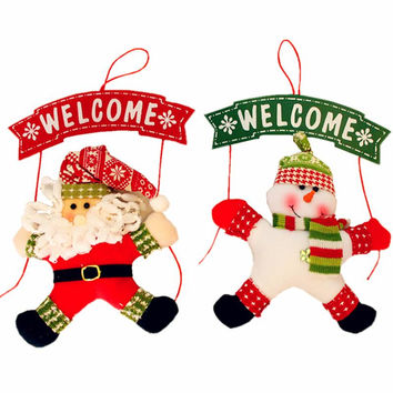 2016 Decorative Xmas Decoration Christmas Wooden Welcome Board Sign With Hanging Santa Claus/Snowman Doll For Wall Door Ornament