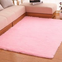 Hughapy® Home Decorator Modern Shag Area Rugs Super Soft Solid Living Room Carpet Bedroom Washable Rug and Carpets,80 * 120cm(Pink)