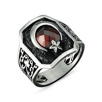 Crescent star with red zirconia stone 925k sterling silver mens ring