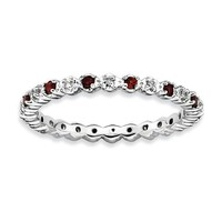 Sterling Silver Stackable Expressions Garnet & Diamond Alternating Eternity Ring