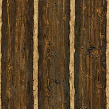 Brewster Wallpaper TLL41382 Log Cabin Brown Wood Paneling