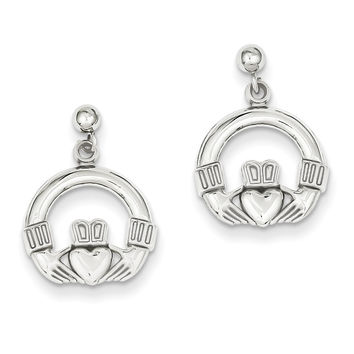 14k White Gold Solid Polished Flat-Backed Claddagh Earrings K1530