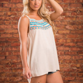In Love With Details Tank, Orange-Turquoise