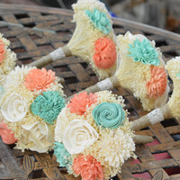 Small Wedding Bouquet Ivory Mint Coral Sola Flowers and dried Flowers Bridesmaid Keepsake