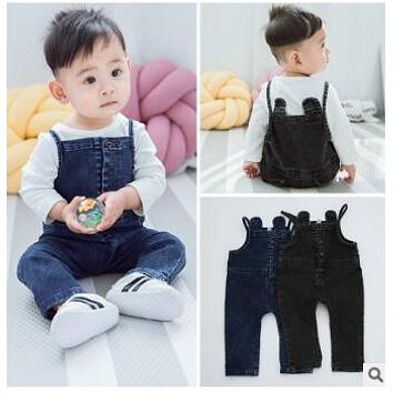 2017 New Spring Autumn Toddler Baby Pants Boys Girls Pants Bib Children Pants 0-2 Girls Boys Christmas Jeans free shipping