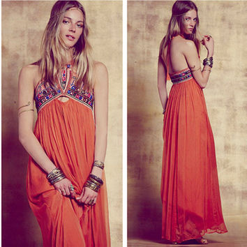 Fashion Ethnic Retro Multicolor Embroidery Backless Sleeveless Halter Maxi Dress