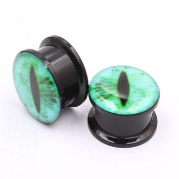 ac PEAPO2Q 1Pair Acrylic Snake Eye Green Black Eye Ear Plug Piercing Screw Fit Gauge Ear Flesh Tunnel Ear Reamer Sexy Fashion Body Jewelry