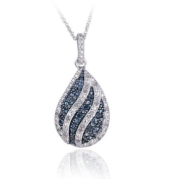 Blue & White Diamond Striped Teardrop Necklace