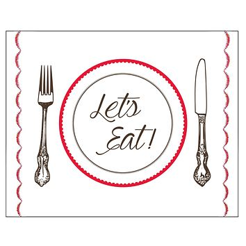 "Let's Eat Fork, Knife and Plate Sewn Print - 8"" x 10"" for kitchen or bar"
