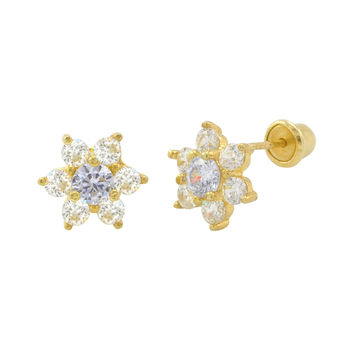 Sterling Silver Flower Stud Earrings Light Blue Cubic Zirconia Gold Plated 8mm