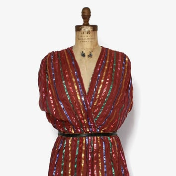 Vintage 70s INDIAN Cotton Dress / 1970s Bohemian Metallic Striped Semi Sheer Gauze Dress