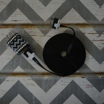 New Super Cute Black & White Chevron Bling Wall iphone 4/4S 6ft Cable Charger Great Stocking Stuffers