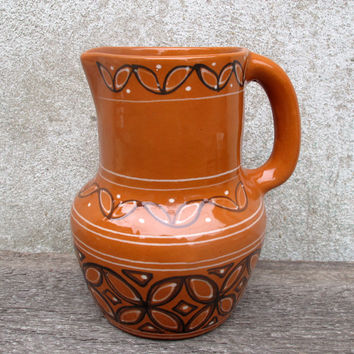 Glazed Pottery Jug, Soviet Ceramic Pitcher, Brown Rustic Vase, Water Pitcher, Farm Decor, Old Ethnical Traditional Pitcher, Natural Red Clay