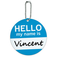 Vincent Hello My Name Is Round ID Card Luggage Tag