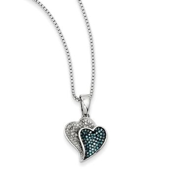 1/3 Ctw Blue & White Diamond Double Heart Necklace in Sterling Silver