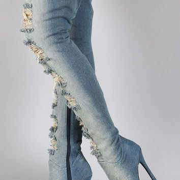 Privileged Distressed Denim Stiletto Over-The-Knee Boots | UrbanOG