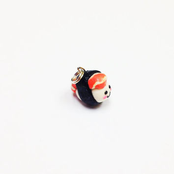 Kawaii Salmon Sushi Polymer Clay Charm perfect as a sushi pendant for a cute necklace, bracelet, key chain or fun food jewelry